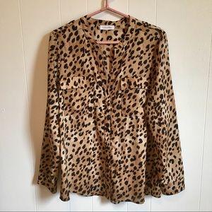 Calvin Klein Cheetah Print Blouse
